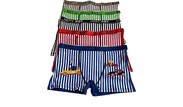 Kids Boys 5 pcs lot Stripe car Print Boxer Shorts Underwear