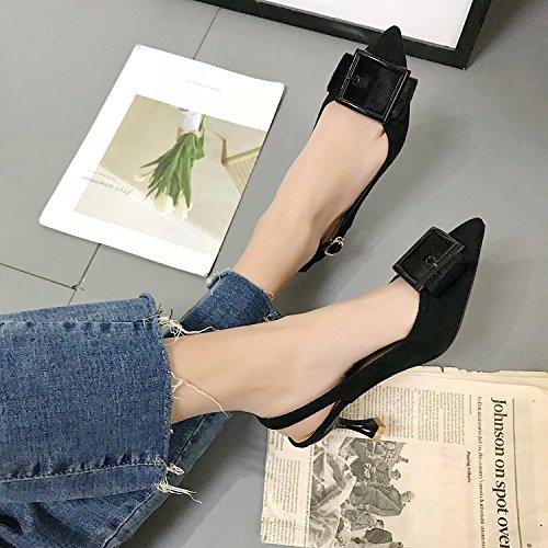 punta a Zapatos atrapar Heeled para High mujer de moda fina satén negro 38 la 448qBE