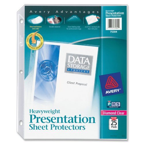 Avery Diamond Clear Heavyweight Sheet Protectors, Acid Free, Pack of 25 (75304) - Plastic Notebook Sleeves