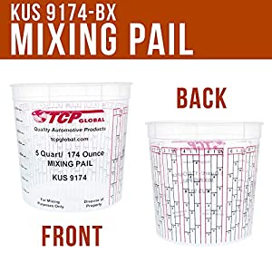 Box of 48-174-Ounce (5-Quart) Paint & Epoxy Mixing Cups Buckets by Restoration Shop – Cups have calibrated mixing ratios on side of cup