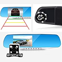 Orentek Night Vision Car Dash Cam, 4.3 LCD FHD 1080p Dual Lens Car Camera Front and Rear. DVR Video Recorder Vehicles Camera(without SD card)