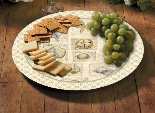 CounterArt Glass Lazy Susan Buffet Plate, Shell Collage