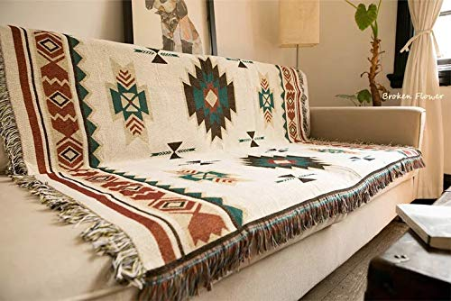 Hiltow Geometric Woven Tapestry Throw Blanket Ideal for Yoga, Camping, Picnic, Beach Blanket, Bedding, Home Decor Soft Woven