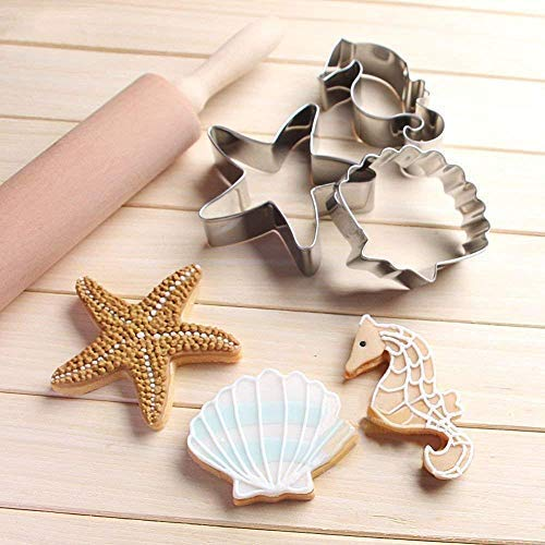 Sea Creature Mermaid Cookie Cutters Set Mould - 4 PCS - Mermaid Tail/Whale Tail, Seahorse, Starfish and Seashell Shape - Stainless Steel