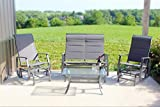 4pc Outdoor Glider Conversation Deep Seating Patio Furniture Set – Grey Review