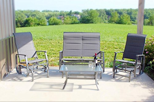 4pc Outdoor Glider Conversation Deep Seating Patio Furniture Set - Grey (Seating Aluminum Furniture Patio Deep)