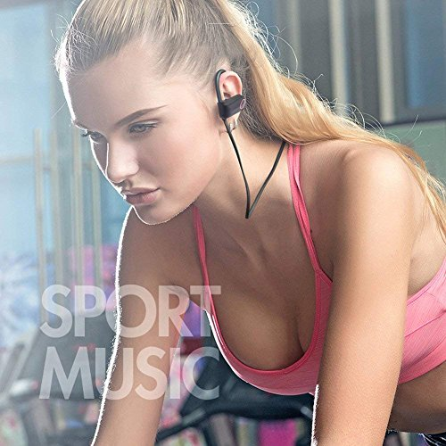 Nanle HD Stereo Wireless Headphones Curve Bluetooth 4.1 Best Sports Earphones Waterproof Sound Sweatproof Earbuds for Gym Running Workout 8 Hour Battery Noise Cancelling Headsets (Color : Red) by Nanle (Image #1)