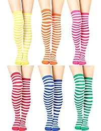 Womens Cable Check Stripe Pattern Over The Knee High Socks