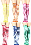 Womens Cable Check Stripe Pattern Over The Knee High Socks (One Size : XS to M, Stripes Color-6Pair)