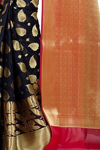 Chandrakala Women's Black Cotton Silk Banarasi Saree by Chandrakala (Image #5)