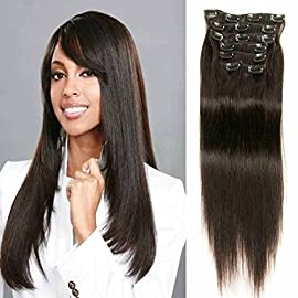 Clip in Hair Extensions Long Thick Silky Straight Full Head 100% Human Hair Virgin Brazilian Straight Hair Weave with…
