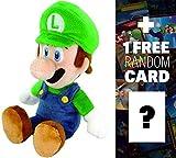 Luigi: ~8'' Super Mario Bros Mini-Plush + 1 FREE Official Super Mario Bros Fun Card Bundle