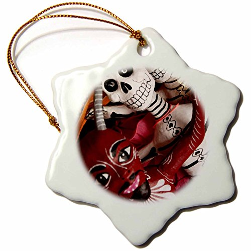 3dRose orn_92650_1 Day of The Dead skeletons, Santa Fe, New Mexico-US32 JMR0290-Julien McRoberts-Snowflake Ornament, Porcelain, 3-Inch