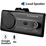 Avantree New CK11 Hands Free Bluetooth for Cell Phone Car Kit, Loud Speakerphone, Siri Google Assistant Support, Motion AUTO ON, Volume Knob, Wireless in Car Handsfree Speaker with Visor Clip - Black
