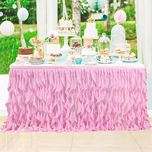 Leegleri 9 ft Pink Curly Willow Table Skirt Tulle Ruffle Table Skirt for Rectangle Table or Round Table,Tutu Table Skirt for Baby Shower,Wedding,Birthday Party (L 9(ft) H 30in) -