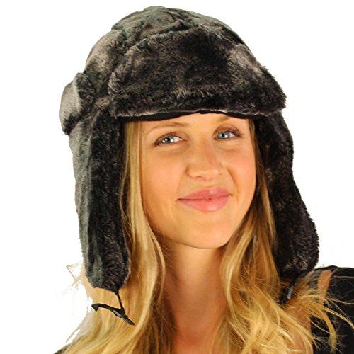 [Winter Faux Fur Furry Super Soft Trapper Helmet Ski Show Hat Charcoal] (Adult Aviator Hat)