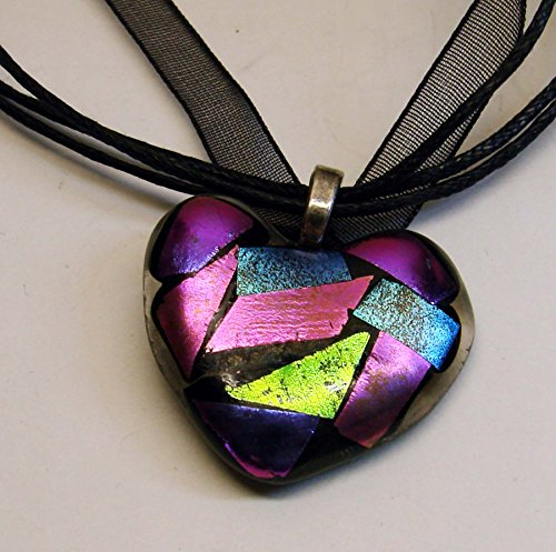 Dichroic Heart Pendant Handmade Fused Glass Valentine's Day Necklace (Dichroic Pendant)