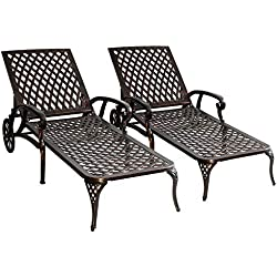 HOMEFUN Chaise Lounge Outdoor Aluminum Wheels Chair Adjustable Reclining Patio Furniture Set, Pack of 2 (Antique Bronze), 2PC