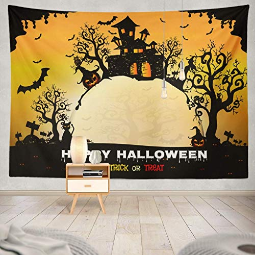 Sandayun88x Halloween Night with Creepy Castle and Pumpkins Happy Halloween Halloween Party Pumpkin Abstract Art Artistic Decorative Tapestry,50X60 Inches Wall Hanging Tapestry for Bedroom Living -