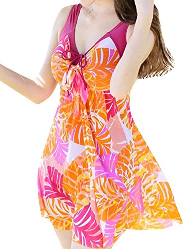 Wantdo Women's Cute Plus Size Swimsuits Beach Living SwimMini Hot Spring Dress, RedBanana, 6XL(US12-14).