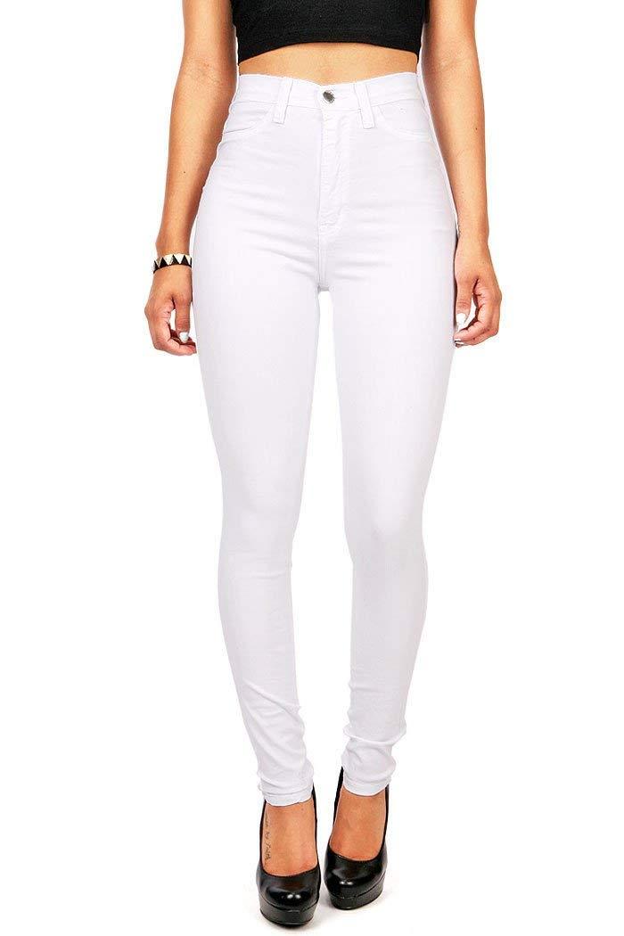 EastLife Womens High Waist Jeans Classic Skinny Straight Leg Denim Casual Pants (XX-Large, White)