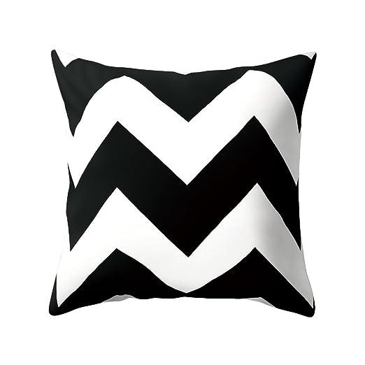 infashionport cuadrado negro y blanco geométrico manta de piel de melocotón funda de almohada cojín caso, 4#, talla única