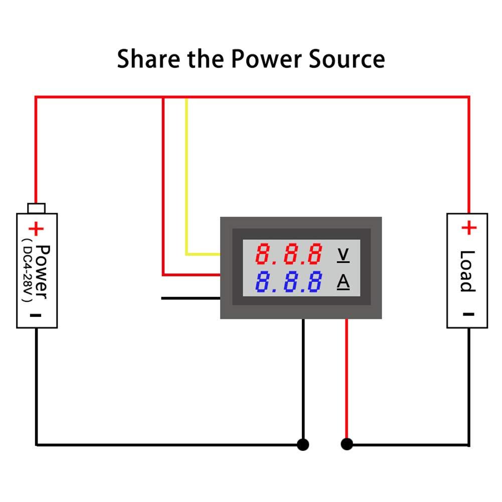 KeeYees 2 St/ück 0,28Voltmeter Amperemeter Modul mit LED Display DC 0-100V 10A f/ür Multimeter
