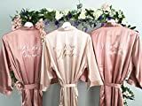 Bridesmaid Robe, Maid of Honor Robe, Set of 3 Satin Robes, Blush, Rose Gold, Mauve, Dusty Rose, Vintage Pink Wedding, Bridal Party Robes, MANY COLORS