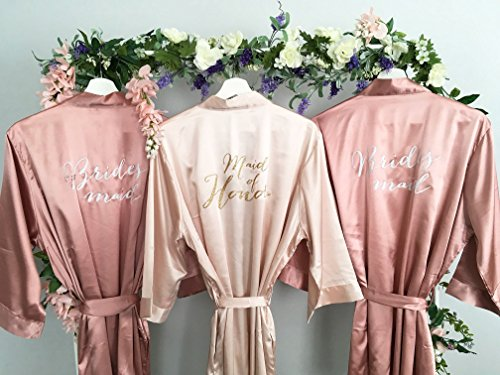 Bridesmaid Robe, Maid of Honor Robe, Set of 3 Satin Robes, Blush, Rose Gold, Mauve, Dusty Rose, Vintage Pink Wedding, Bridal Party Robes, MANY COLORS by MY everyday design