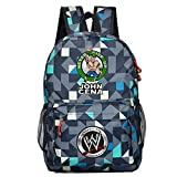 YOURNELO Boy's Cool Canvas WWE Shoulder Bag School Backpack Bookbag (John Cena Grid Blue 2)