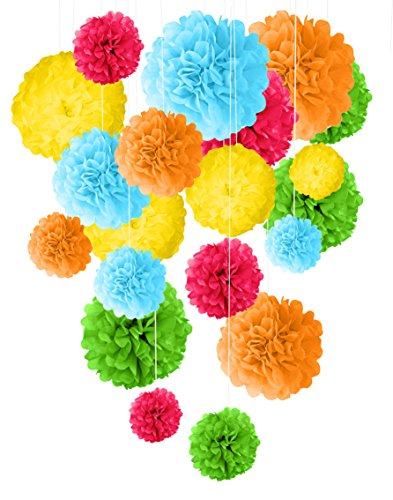 TISSUE PAPER POM POM DECORATIONS - 20Pcs 14