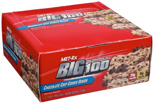 Met-Rx Big 100 Meal Replacement Bar, Chocolate Chip Cookie Dough, 3.52-Ounce Bars (Pack of 12)