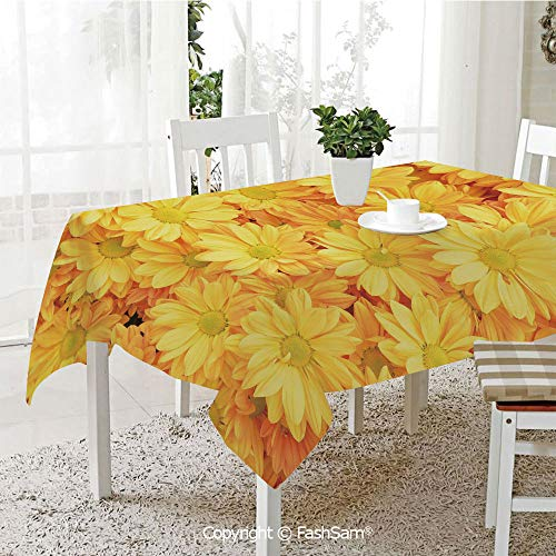 (AmaUncle 3D Dinner Print Tablecloths Lively Daisies Fresh Bouquets with Natural Seasonal Bedding Plant Petals Resistant Table Toppers (W60 xL84))