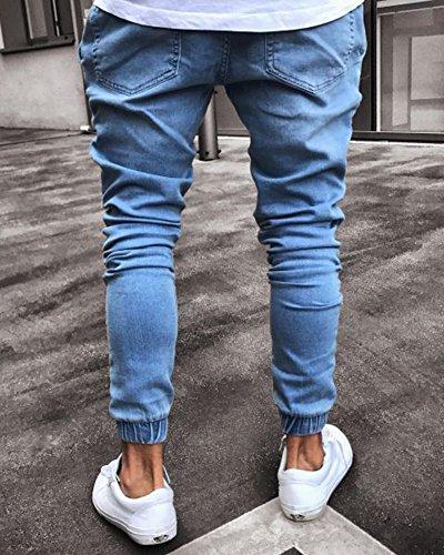 Alta Blu Elastico Con Slim Vita A Caviglia Pantaloni Jeans Uomo Alla Fit q6tSSpw