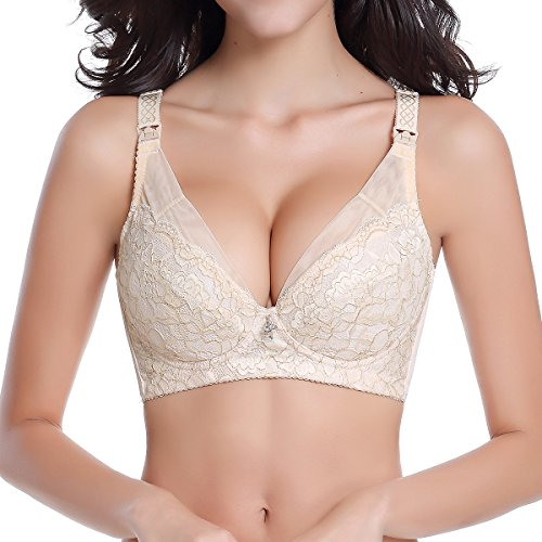 (Shymay Women's Nursing Bra Embroidered Underwire Gather Non-Padded Push-Up Bra, Nude, Tag Size 75B=US Size 34B)