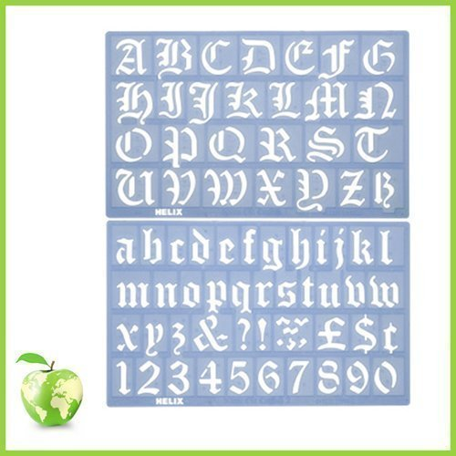 Helix old english alphabet stencil set - 30mm - Old English Letter Alphabet