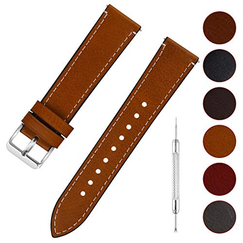 Quick Release Leather Watch Band, Fullmosa 6 Colors Wax Oil 14mm 16mm 18mm 20mm 22mm 24mm Leather Watch Strap,14mm Light Brown+Silver Buckle-QR ()