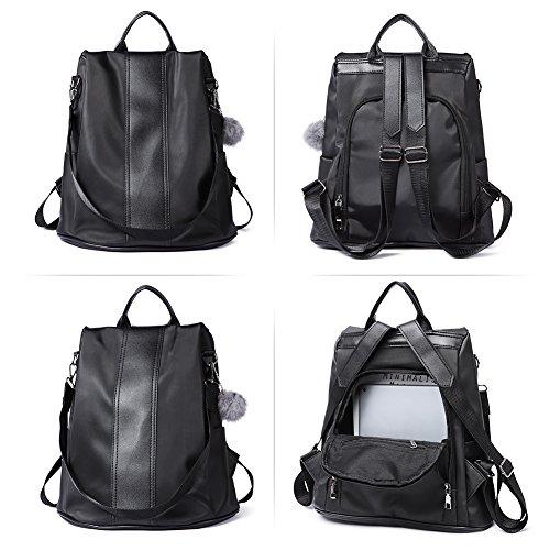 Bag black Purse 1 Designer School Lightweight Shoulder Nylon Backpack Ladies Women Travel Fashion Covertible PfxqZOnaR