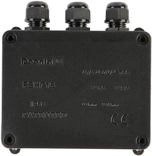 Caja de Conexiones IP68 Resistente al Agua 3 Conectores de Cable ...