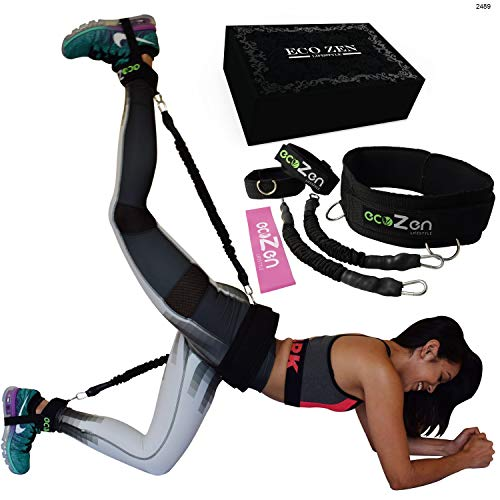 ecoZen Lifestyle Booty Bands with Adjustable Belt   3 Adaptable Levels of Resistance   Unique Sauna Stimulus Technology   Ideal Resistance Bands for Legs and Butt   Fast Visible Result (Black) (Hudson Deluxe Wide Leg)