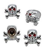 Glumes Sivler Skull Tire/Wheel Stem Air Valve Caps Covers, for Car, Truck, Hot Rod ATV, Motorbike, Bike, 4pcs (Silvery)