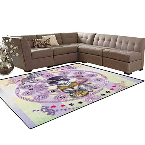 (Animal,Floor Mat,Alice in Wonderland Rabbit and Cat Fiction Story Novel Child Display Story,Living Dining Room Bedroom Hallway Office Carpet,Lilac Pale Yellow Size:6'6