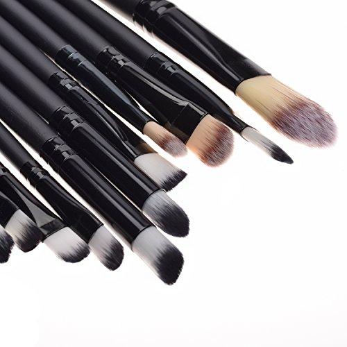 20Pcs Black Makeup Sets Powder Foundation Eyeshadow Eyeliner Lip Cosmetic Brushes (Black)