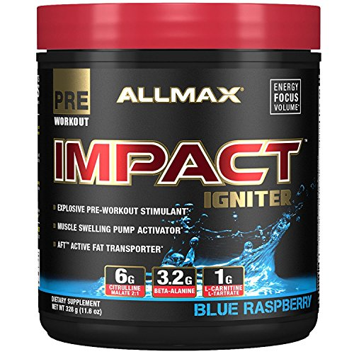 Pre Workout Muscle Igniter - ALLMAX Nutrition IMPACT Igniter Pre-Workout Citrulline Malate Beta-Alanine NAC Blue Raspberry 11 6 oz 328 g