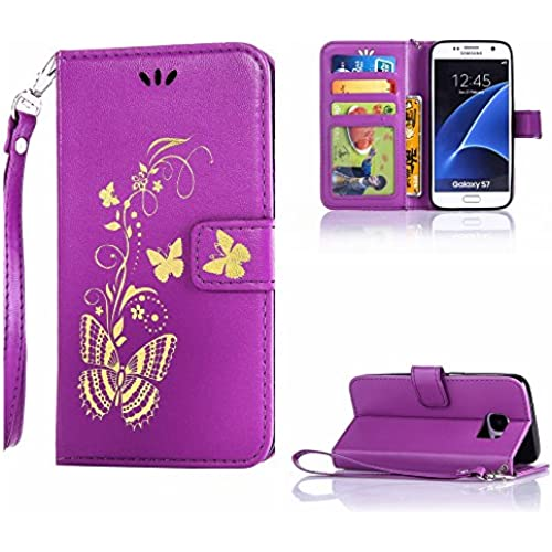 S7 case wallet,Cell Phone Case for galaxy S7,Yuncase Cover Holster Money Slot Girls Stand View Perfect Fit Samsung galaxy S7 (purple) Sales