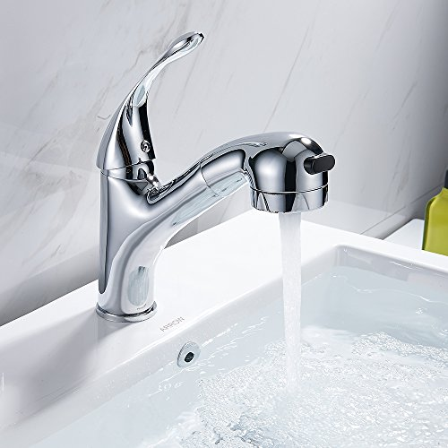 LITTLEGRASS Pull Out Sprayer Kitchen Sink Faucet with Pull Down Sprayer Chrome Small Kitchen Sink Faucet Single Handle Single Lever Bar Mixer Taps (style ()