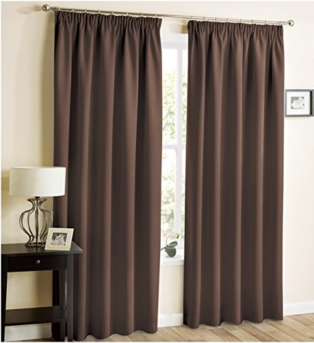 THERMAL BLACKOUT CURTAINS Eyelet Ring Top OR Pencil Pleat Tape Top FREE Tiebacks
