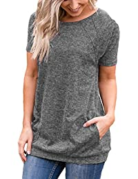 Womens Short Sleeve Round Neck Tunics T Shirts Tops Blouses with Pockets