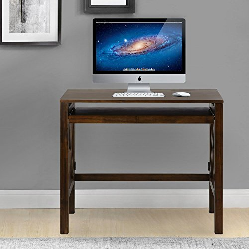 (Casual Home Montego Folding Desk with Pull-Out Tray-Warm Brown)