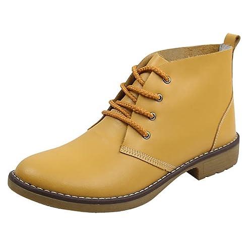 TOMWELL Botines para Mujer Otoño Botas de tacón plano con cremallera Amarillo EU 35